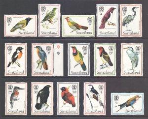 Swaziland Scott 244/258 - SG236/250a, 1976 Birds Set MH*