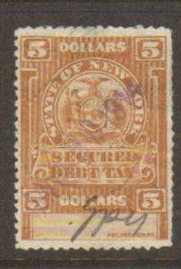 New York State $5 Secured Debit Tax Stamp Used 1914