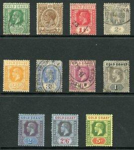 Gold Coast SG86/98 1921-25 KGV Wmk Mult Script CA Part Set of 11 Mixed