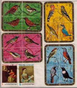 1968/1971 Burundi Sc 337-341 Birds/Butterflies Used Topicals H.E.Harris Pgs.F-VF