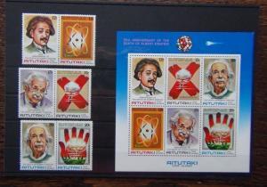 Aitutaki 1980 Anniversary Death of Albert Einstein set & Miniature Sheet MNH