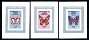 [95576] Niger 1990 (1991) Insects Butterflies 3 Imperf. Single Sheets MNH