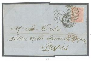 GB QV POSTMARKS *Charles Rideout* TRIAL MACHINE 4d Cover 1859 France SG.66 296b