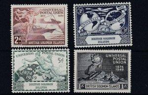 BRITISH  SOLOMON ISLANDS   1949  UPU SET OF 4  MH