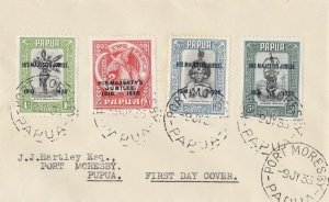 PNG748) Papua 1935 Jubilee set of 4 on FDC