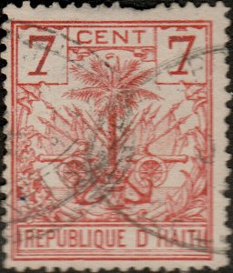 HAÏTI - 1890s Mi.26 7c orange-red Palm Tree used DUTCH SHIP CANCEL