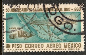 MEXICO C248 $1P 50th Anniv. of Mexican Aviation. USED. (885)