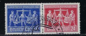 Germany AM-Post Scott # 585c, used, pair, var., experts h/s, se-tenant, WZd3