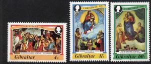 Gibraltar 456-8 MNH Christmas, Raphael Paintings, Madonna of Foligno