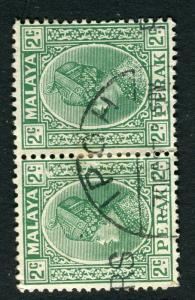 MALAYA; PERAK 1930s Sultan issue fine used 2c. Pair Ipoh cancel