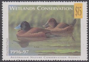 Australia - $15 Australian Wetlands Conservation Stamp VF-NH