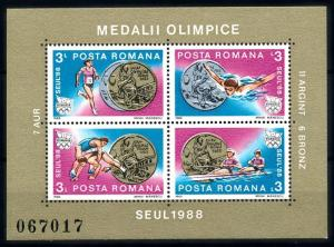 [92290] Romania 1988 Olympic Games Seoul Swimming Wrestling Boxing Sheet MNH