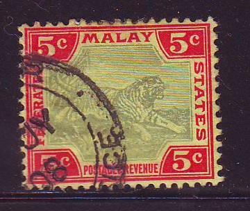 Malaya Sc 29 1904 5 c tiger stamp used