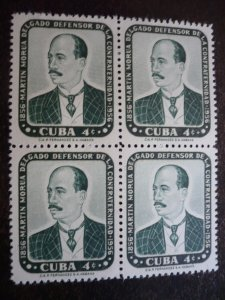 Stamps - Cuba - Scott# 564 - Mint Hinged Single Stamps in a Block of 4