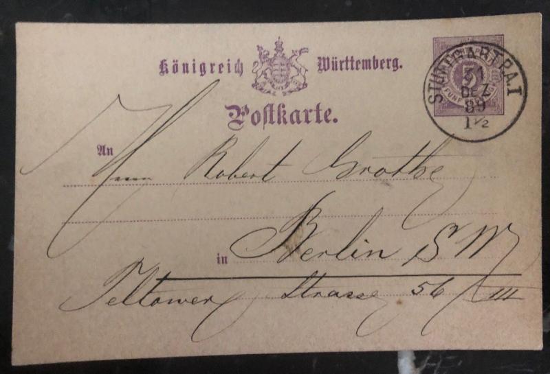 1889 Stuttgart Germany Postal Stationary Postcard Cover To Berlin
