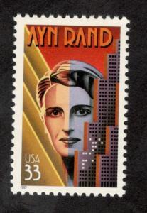 3308 Ayn Rand US Single Mint/nh FREE SHIPPING