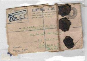 paddington 1952 registered letter with customs wax seals pakistan  Ref 9817