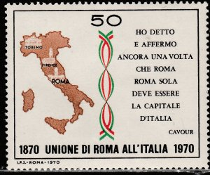 ITALY 1019, CENTENNIAL OF THE UNION OF THE ROMAN STATES. UNUSED, H OG  VF. (437)