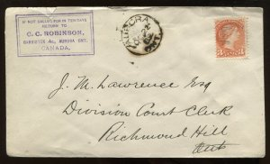 Canada 3 Cent Small Queen on cacheted 1889 Aurora ON cover to Richmond Hill