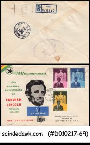 GHANA - 1959 150th birth anniversary of ABRAHAM LINCOLN - 3V - FDC REGISTERED