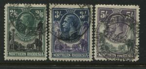 Northern Rhodesia KGV 1925 2/6d, 3/, and 5/ used