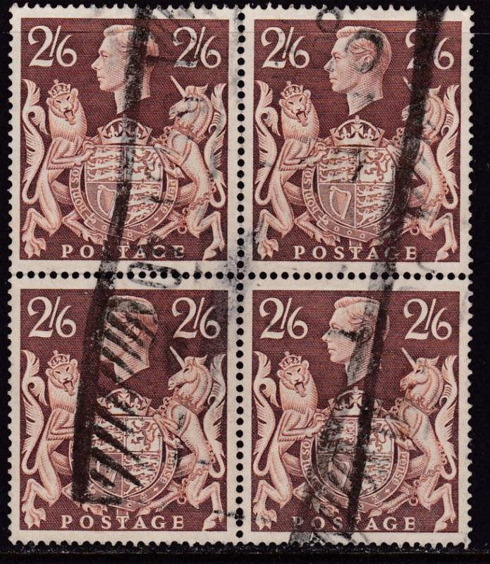 Great Britain 1939 King George VI.. 2/6 Used Block of Four  Well Centered F/VF