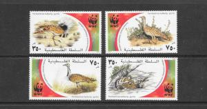 BIRDS  - PALESTINE AUTHORITY-WWF #150a-d  MNH