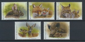 [BEL43] Belgium 2014 Forest Animals good set of stamps very fine MNH
