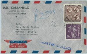 67221 - ECUADOR - Postal History - REGISTERED AIRMAIL COVER to ITALY  1960