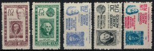 Mexico #826-7, C167-9*  CV $4.60  Stamp-on-stamp sets complete