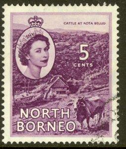 NORTH BORNEO 1954-57 QE2 5c CATTLE Pictorial Sc 265 VFU