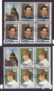 Niue-Sc#340,341- id5-used blocks of 5 + label-Princess Diana-Prince Charles-Roya