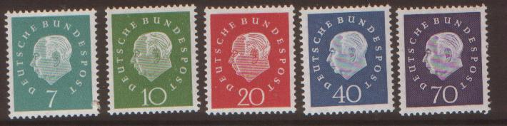 GERMANY 1958 Heuss set of 5 SG1219/23 never hinged mint