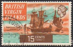 British Virgin Islands 1970 15c Windsor Castle (sailing packet), 1807 used