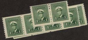 Canada - 1948 1c KGVI War Coils X 10 mint #278