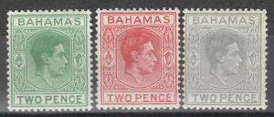BAHAMAS 1938 KGVI 2D 3 COLOURS