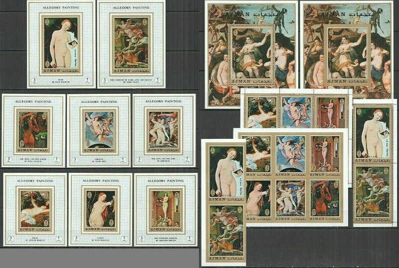 AB2594 IMPERF,PERF AJMAN ART ALLEGORY PAINTINGS MICHEL 60 € 10BL+2SET MNH