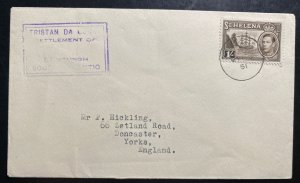 1951 Tristan Da Cunha Colony Badge Issue Stamp Cover To Yorks England