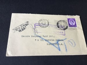 Manchester From walsall  1959 gone away stamps cover Ref R28787