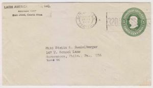 COSTA RICA 1948 PS COLUMBUS 5c ENVELOPE SAN JOSE TO GERMANTOWN, PHILA VF