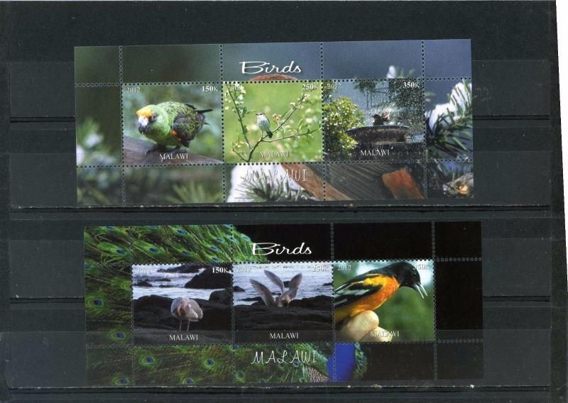 MALAWI 2012 FAUNA/BIRDS 2 SHEETS OF 3 STAMPS MNH