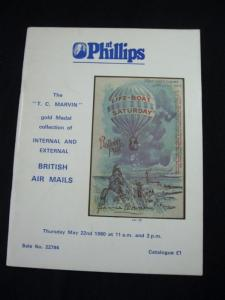 PHILLIPS AUCTION CATALOGUE 1980 THE TC MARVIN COLLECTION OF BRITISH AIR MAILS