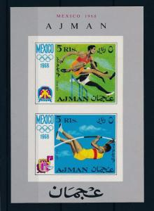 [43006] Ajman 1968 Olympics Mexico Athletics without impressed perf. MNH Sheet