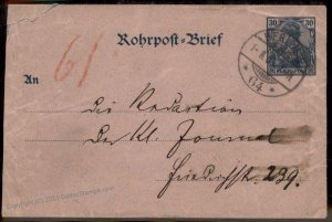 German 1900 Empire Germania Berlin Rohrpost Pneumatic Mail Stationery Cov G84462