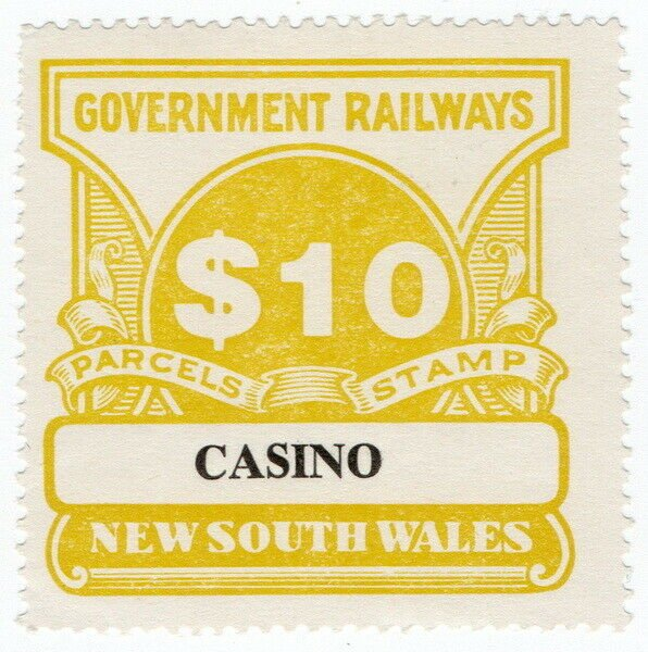 (I.B) Australia - NSW Government Railways : Parcel Stamp $10 (Casino)