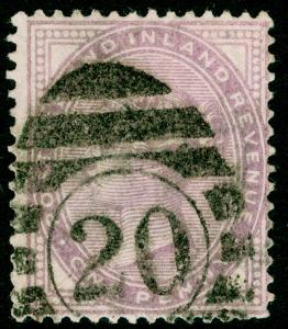 SG171, 1d pale lilac 14 DOTS, USED. Cat £30.