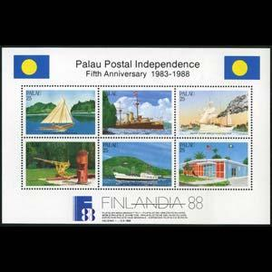 PALAU 1988 - Scott# 196 S/S Postal Indep. NH