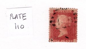 Great Britain 1858-79 Victoria Penny Red (Plate 110) [Used]