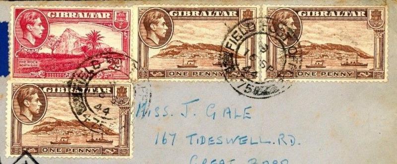 DBW187 1944 GIBRALTAR WW2 Honour Label Tied Censor