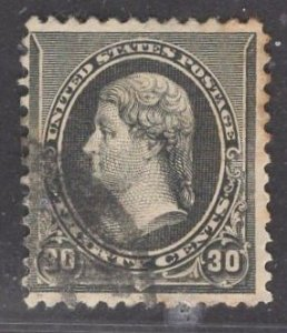 US Stamp #228 30c Black Jefferson USED SCV $30.00